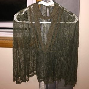 Tops - Green laced blouse